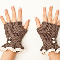 Romantic brown fingerless gloves mittens - handmade