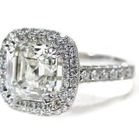 Asscher Cut Diamond Ring 3 C. - The Three Graces