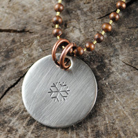 Snowflake Necklace, Hand Stamped Nickel Silver Charm Pendant, Oxidized Copper Ball Chain
