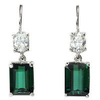 Green Tourmaline & Diamond Earrings - The Three Graces