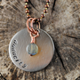 Audacity Stamped Nickel Silver Necklace with Oxidized Copper Ball Chain and Labradorite Stone