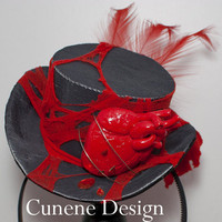 Cunene Bloody Heart Mini Top Hat by cunene on Etsy