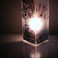 Glass Polaroid Photo Table Lamp  Cherry Blossoms  by jerseymaids