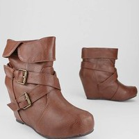buckle strap leatherette hidden wedge bootie