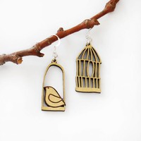 Little bird out of the cage-sterling silver earrin | MANOLO