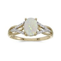 Amazon.com: 10k Yellow Gold Oval Opal And Diamond Ring (Size 6): Jewelry