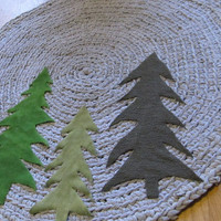 OOAK Upcycled Crochet Round Tree Rug. Made To Order. Primitive Tree Rug