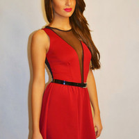 Crimson Skater Dress