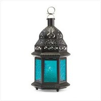 Amazon.com: Blue Glass Moroccan Lantern: Furniture & Decor