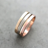 Gold Wedding Band Stacking Rings, 2mm Recycled 14k Yellow, Rose Gold, Palladium White Gold Rings Wedding Rings -  Made to Order