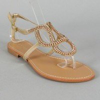 Bamboo Bloom-88 Rhinestone Cut-Out Thong Flat Sandal