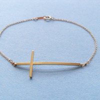 Cute Sideway Cross, Chic, Sleek, Modern,14K Gold Filled Chain, Bracelet