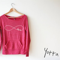 Women Crop Sweatshirt - Infinity Love