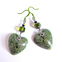 Glitter resin earrings - light green resin heart earrings - heart jewelry - resin earrings
