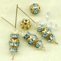 Mixed Lot of Aquamarine Rhinestone Bead Balls and Rondels