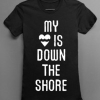 BLACK  - New Jersey Sandy RELIEF T-shirt - My heart is down the shore
