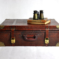 Vintage Faux Alligator Suitcase by havenvintage on Etsy
