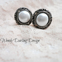 "7/16"" Organic Silver Filigree Pearl Button Plugs"