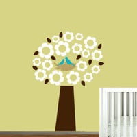Childrens Wall Decal Tree with birds in a nest Posh Flower Blossom wall sticker