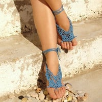 Crochet Butterfly BLUE Barefoot Sandals Nude shoes Foot by Lasunka