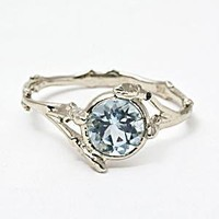 Twig Ring with Aquamarine