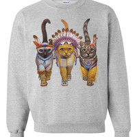 CAT SWEATSHIRT INDIANS unisex pullover crew neck -- s m l xl xxl xxxl