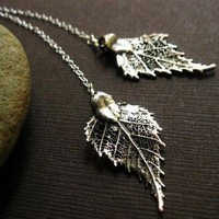 Birch Leaf Necklace Lariat Real Birch Leaves by briguysgirls