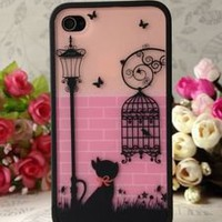 Romantic Cat under Lamp & Birdcage hard Back Case Cover skin for iPhone 4 4S