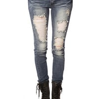 Papaya Clothing Online :: DESTROYED SKINNY JEANS