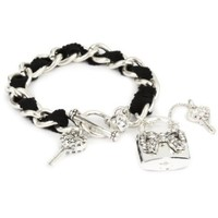 Betsey Johnson Silver Lock and Key Toggle Bracelet - designer shoes, handbags, jewelry, watches, and fashion accessories | endless.com