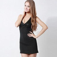 Sleeveless Deep V Neck Backless Sexy Club Dress