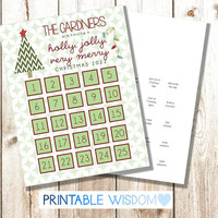 Printable Advent Calendar, family activities Christmas calendars, personalized custom DIY