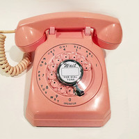 WORKING - Pink Rotary Phone Telephone