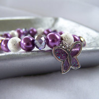 Purple Pearl Stretch Bracelet with Purple Butterfly Charm - Handmade Charm Bracelet - OOAK