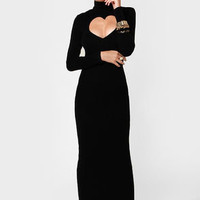 Open Your Heart Cutout Black Maxi Dress