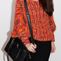 Colourful Round Neck Bat Sleeve  Pullover Sweater Orange$48.00