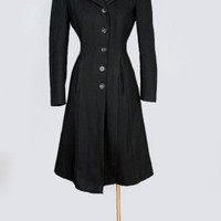 1930&#x27;s Film Noire Black Wool Fitted Princess Coat - S/M VINTAGE PRINCESS COATS FILM NOIRE STYLE: 1930&#x27;s &amp; 40&#x27;s :