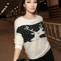 X'mas Deer Round Neck Sweater White$42.00