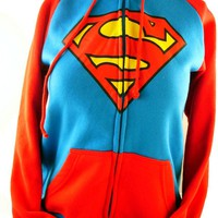 "Supergirl Ladies Hoodie - Classic Superman ""S"" Logo on Blue and Red"