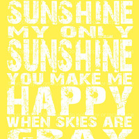 You are My Sunshine Quote - 8x10 Canvas Textured Art PRINT - Yellow and White Typography - Made by artstudio54 on ETSY