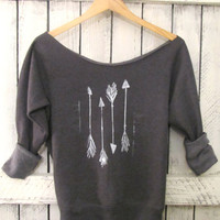 FREE SHIPPING- Hipster Arrow Off Shoulder Sweatshirt, Off shoulder Sweater, (women, teen girls)