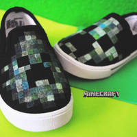 Minecraft / Creeper Kids Hand-Painted Slip Ons
