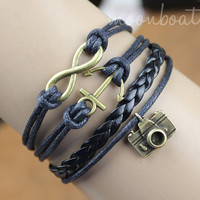 Bracelet-antique bronze infinity bracelet,anchor bracelet,camera bracelet
