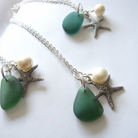 Sea Glass Starfish Necklace in dark green with fresh water pearl - Bridesmaids jewelry for beach wedding FREE SHIPPING
