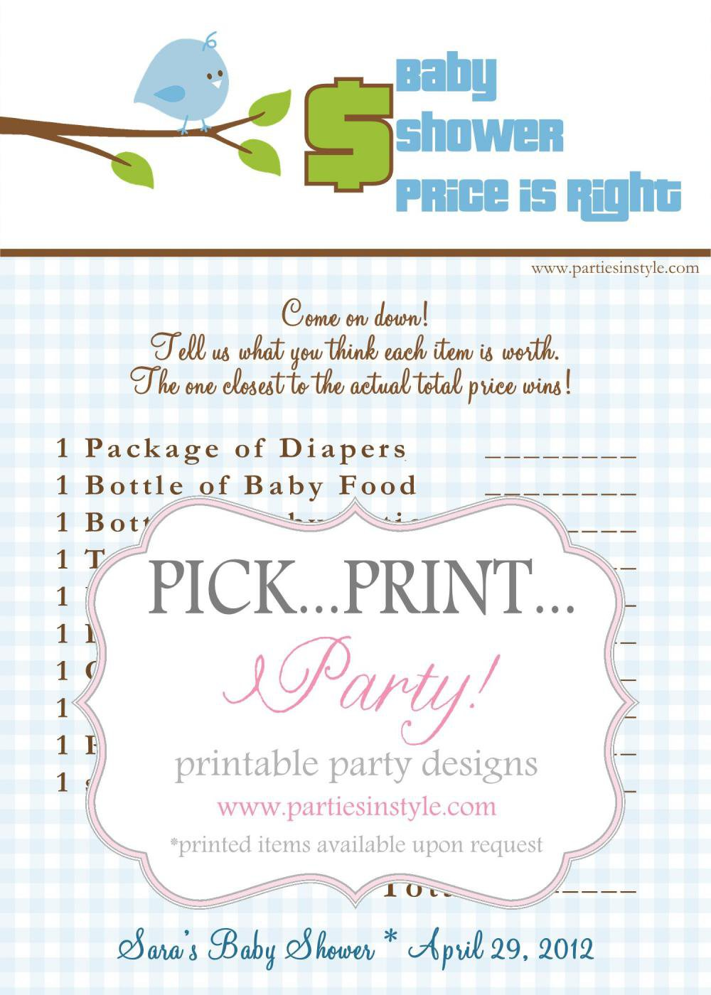 baby shower game price is right on from madebyaprincess