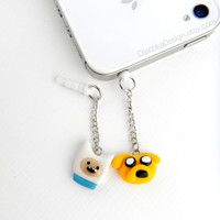 Adventure Time Jake and Finn Charm iPhone Earphone Plug, Dust Plug, Pluggy, Cellphone Accessories, 3.5mm, Polymer Clay