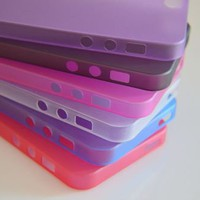 6pcs Colorful 0.5mm Ultra Thin Transparent Matte Cover Shell For iPhone 5 5G New