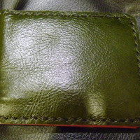 racing green leather man's wallet  handmade