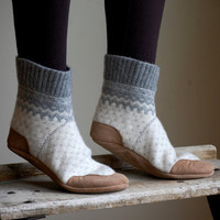 Women Slipper Socks, Wool House Slippers, women size 8, 9.5, wide width, Some Day I&#x27;ll Be Old Fashioned