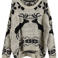 Asymmetric Knitted Elk Apricot Jumper